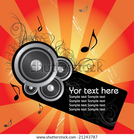 Music vector composition whit flower - stock vector