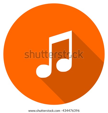 music vector icon, circle flat design internet button, web and mobile app illustration - stock vector