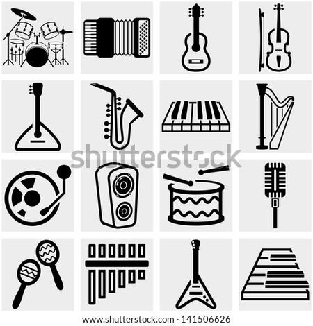 Music vector icon set on gray - stock vector