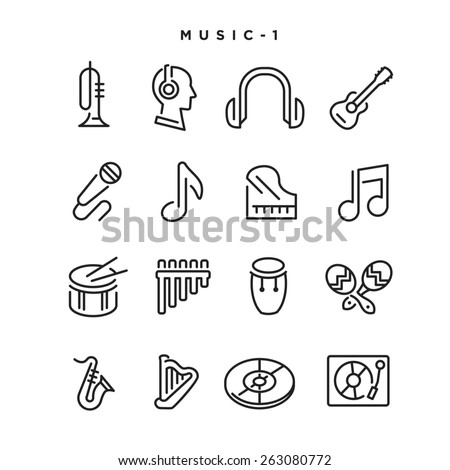 Music vector icons. Elements for print, mobile and web applications. - stock vector