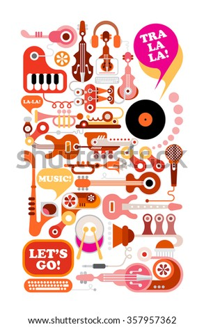 Music vector illustration. Composition of musical instruments and equipment isolated on white background. - stock vector