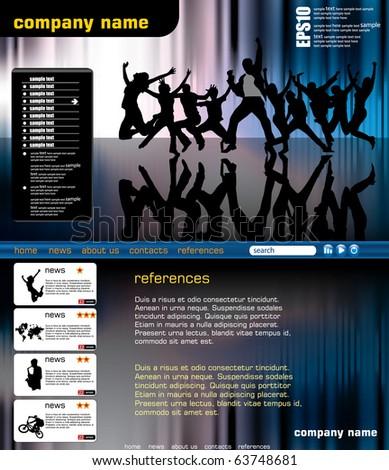 Music vector website template - stock vector