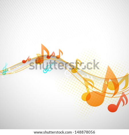 Music wave background with colorful musical notes.  - stock vector