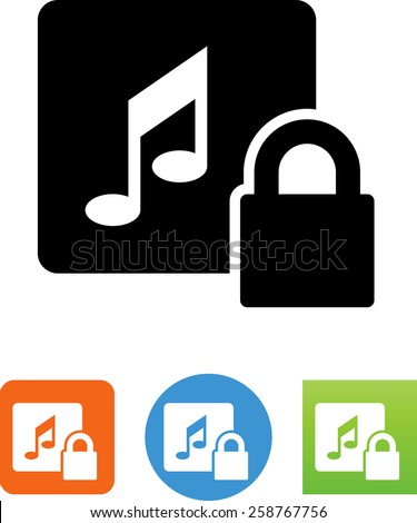 Music with DRM protection. Vector icons for video, mobile apps, Web sites and print projects. - stock vector