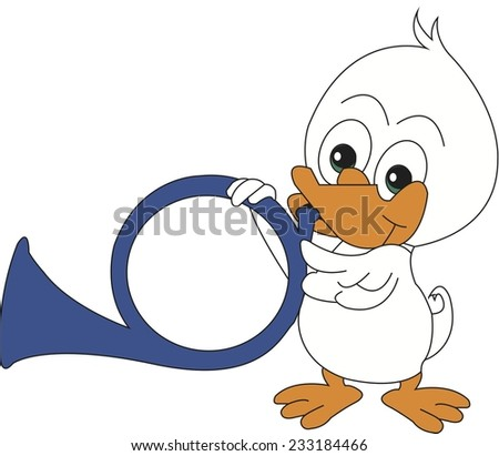Music with duckling - stock vector