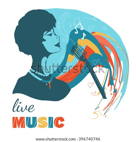 Music woman sings hand drawn vector illustration - stock vector