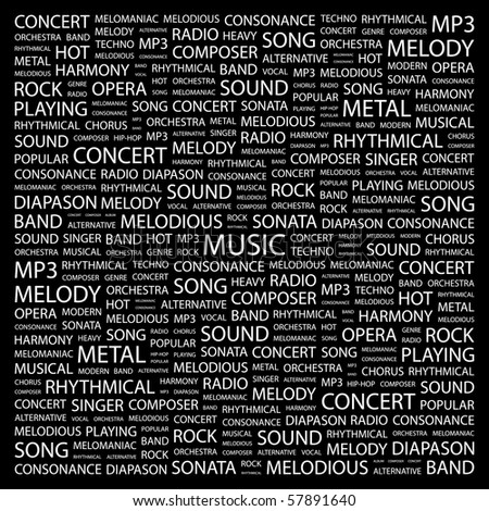 MUSIC. Word collage on black background. Illustration with different association terms. - stock vector