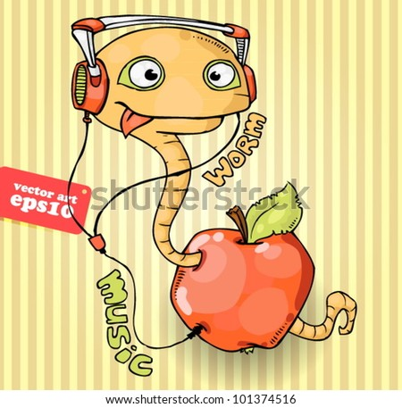 Music worm in the apple - stock vector