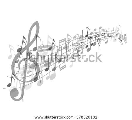 Musical abstraction - vector gray notes - stock vector