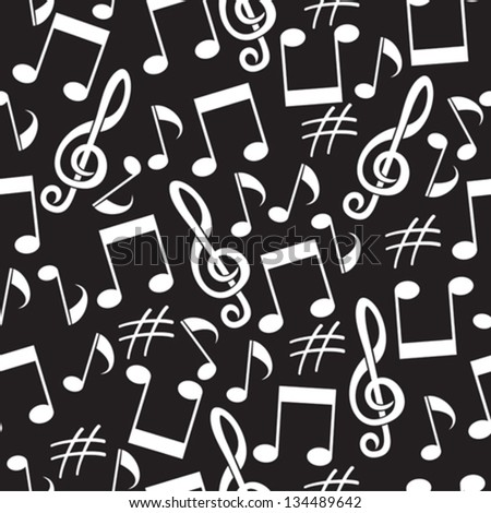 musical background from notes - stock vector
