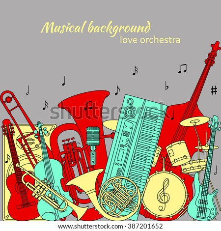 Musical background made of different musical instruments, treble clef and notes. Red, yellow, turquoise and gray colors. Set of line icons in music theme. Good for coloring books. Vector illustration. - stock vector