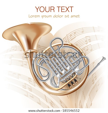 Musical background series. Classical French horn, isolated on white background with musical notes . Vector illustration  - stock vector