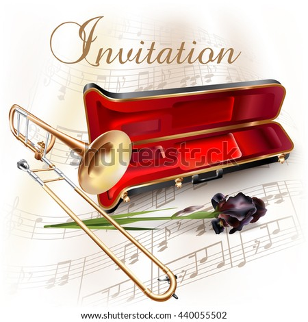 Musical background series. Classical trombone, isolated on white background with musical notes and the 'Invitation' wording. Vector illustration