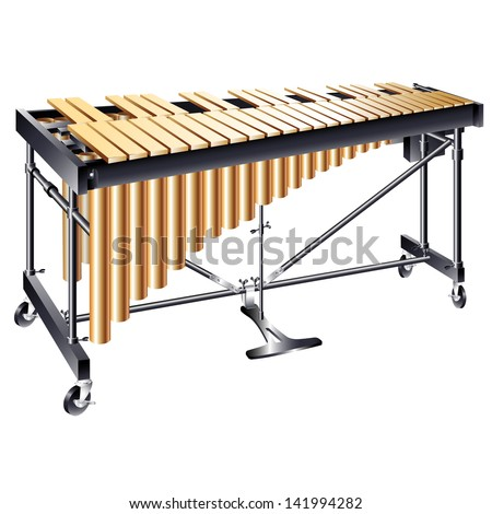 Musical background series. Classical vibraphone, isolated on white background - stock vector
