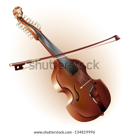 Musical background series. Classical viola d'amore, isolated on white background. Vector illustration - stock vector