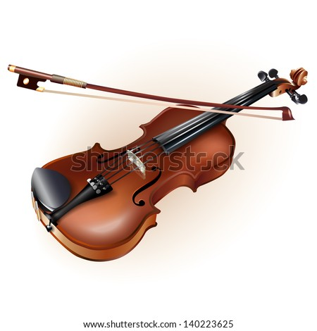 Musical background series. Classical violin, isolated on white background. Vector illustration