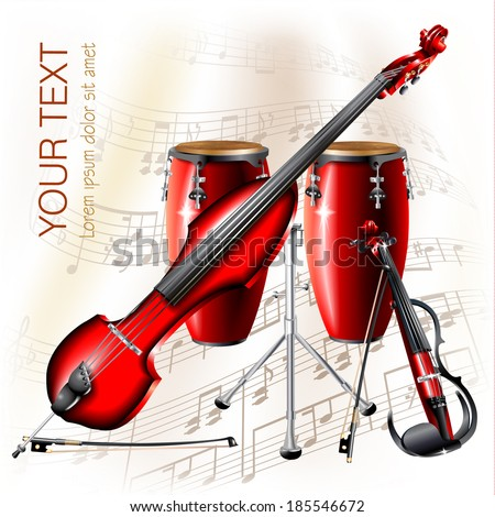 Musical background series. Electric violin, electric contrabass and traditional Conga drum, isolated on white background with musical notes . Vector illustration   - stock vector