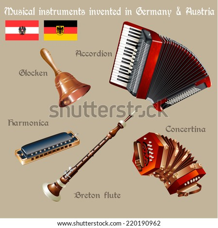 Musical background series. Set of musical instruments invented in Germany & Austria. Vector Illustration - stock vector