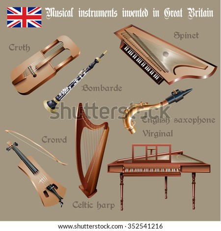 Musical background series. Set of musical instruments invented in Great Britain. Vector Illustration  - stock vector