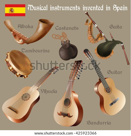 Musical background series. Set of musical instruments invented in Spain. Vector Illustration