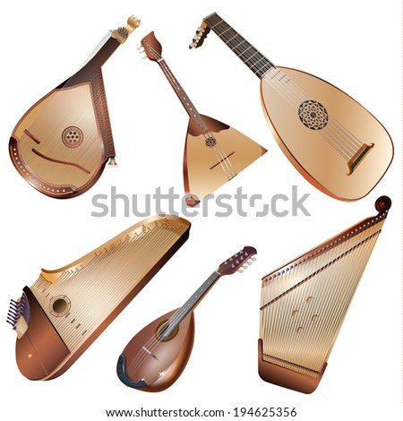 Musical background series. Set of string musical instruments, isolated on white background. Vector illustration - stock vector
