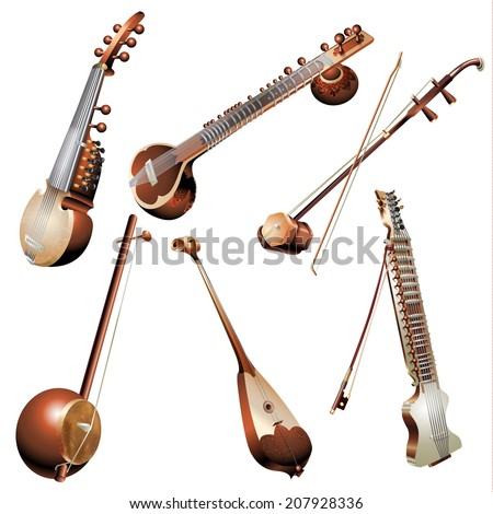 Musical background series. Set of traditional string instruments, isolated on white background . Vector illustration - stock vector