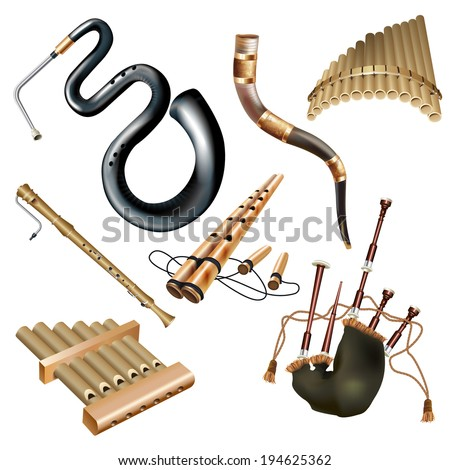 Musical background series. Set of woodwind instruments, isolated on white background. Vector illustration - stock vector
