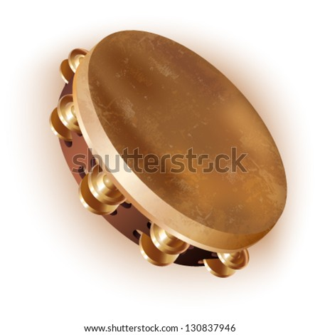 Musical background series. Traditional tambourine, isolated on white background. Vector illustration - stock vector