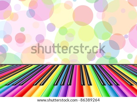 Musical background with a piano keyboard and bubbles - stock vector