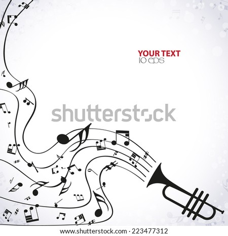 musical background with a pipe - stock vector