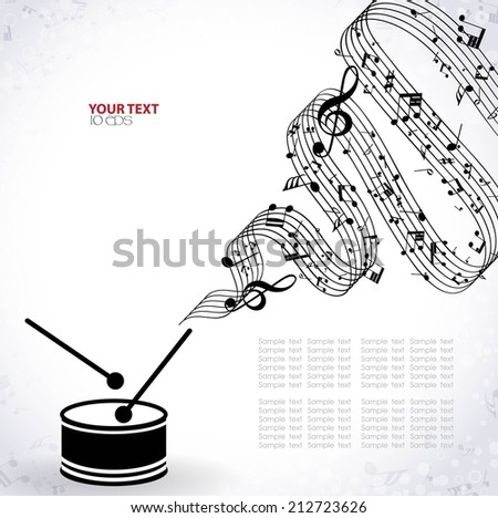 musical background with drum - stock vector