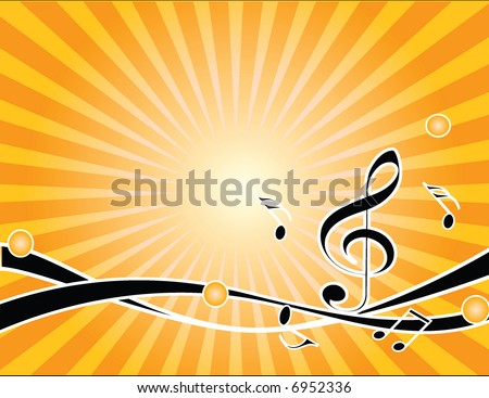 musical background with notes - stock vector