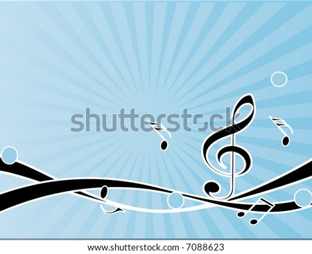 musical background with notes,vector - stock vector