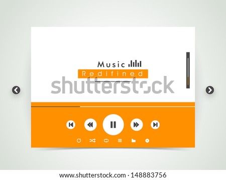 musical background with play, pause, forward and back buttons, mp3 player.  - stock vector
