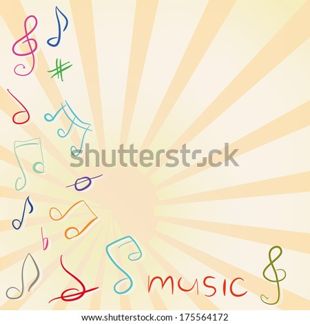 musical background with treble clef and notes - stock vector