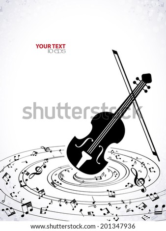 musical background with violin - stock vector
