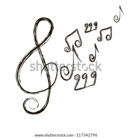 musical composition. notes on a white background.Vector - stock vector