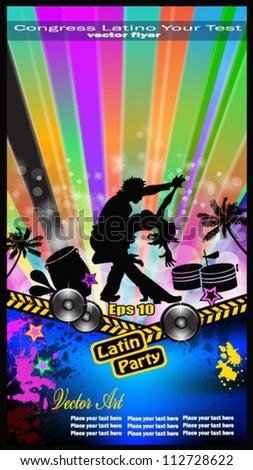 Musical concept for latino dance, salsa, bachata, merenghe balladas flyer for night party or  exhibitions. - stock vector