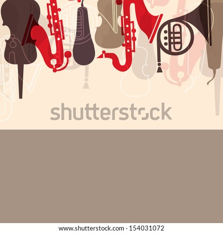 Musical concept with musical instruments,  can be use as poster, banner for flyer for music concerts and parties. - stock vector