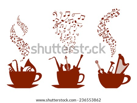 Musical cups of coffee with various instruments inside the cups and wafting steam composed of music notes, vector illustration - stock vector