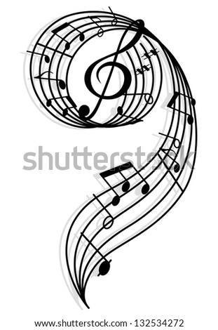 Musical curly elements with clef and notes. Vector illustration for art and entertainment background. Jpeg (bitmap) version also available in gallery - stock vector