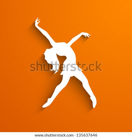 Musical dance party background. flyer or banner with paper cut out design of a dancing girl on orange background. - stock vector