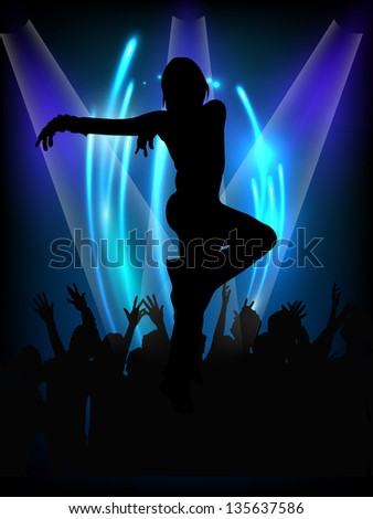 Musical dance party background. flyer or banner with silhouette of a  dancing girl on shiny blue background. - stock vector