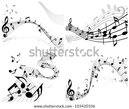 Musical Designs Sets With Elements From Music Staff , Treble Clef And Notes in Black and White Colors. Elegant Creative Design With Shadows and Isolated on White. Vector Illustration. - stock vector