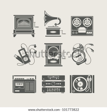 musical device set of icon vector illustration - stock vector