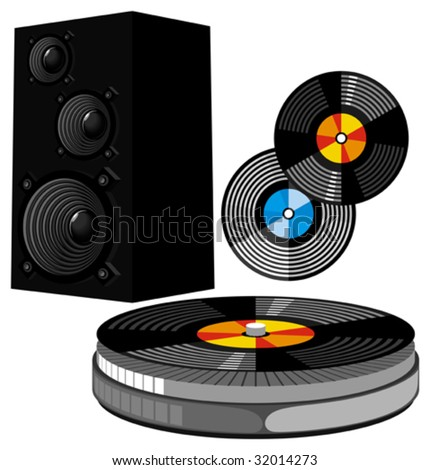 Musical disco equipment: speakers, vinyls and record player. Vector illustration.
