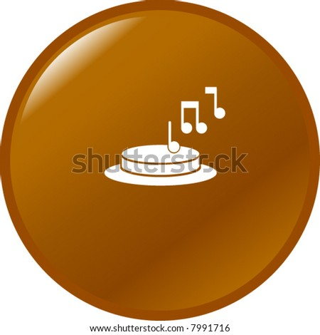 musical door bell button - stock vector