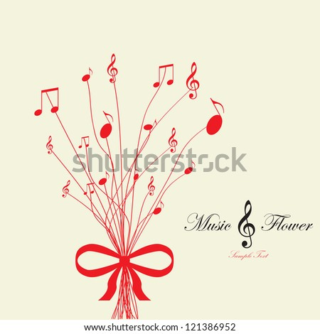 Musical flower. Vector illustration. - stock vector