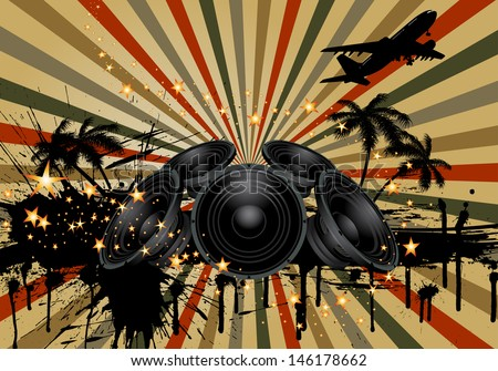 Musical grunge background. EPS10 vectorillustration wthout transparency. - stock vector