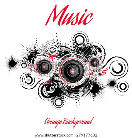 Musical grunge background, retro style, vector illustration